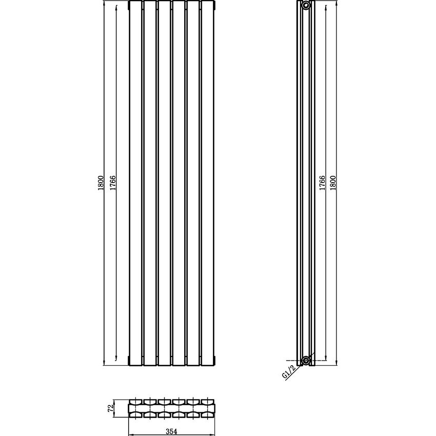 Sloane Double Panel Designer Radiator - High Gloss White - 1800 x 354mm HLW44 map.jpg